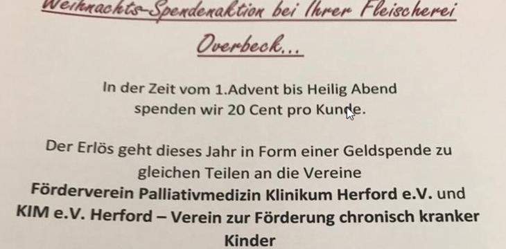 Weihnachts-Spendenaktion der Fleischerei Overbeck in Herford